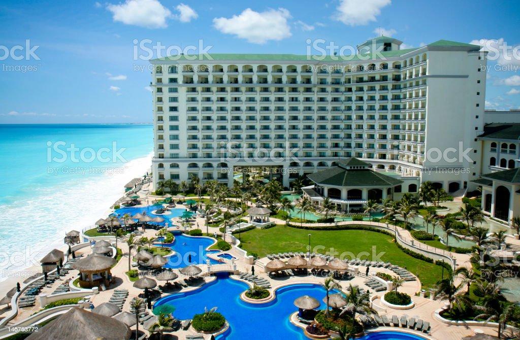 Cancun resort aerial view stock photo