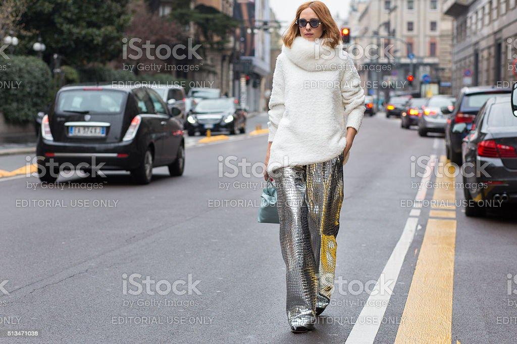 Candela Novembre before the Blumarine fashion show stock photo