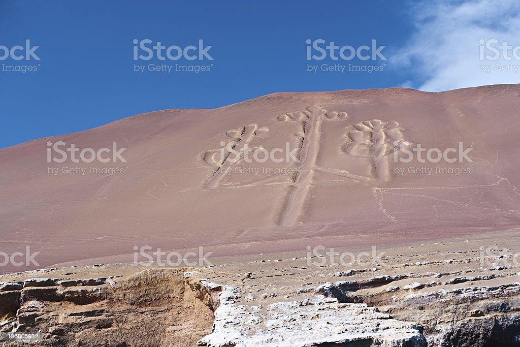 Candelabra, The Paracas Peninsula, Peru royalty-free stock photo