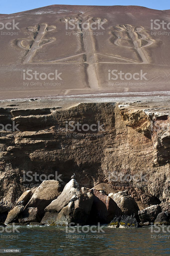 Candelabrum in Paracas national park, Peru stock photo