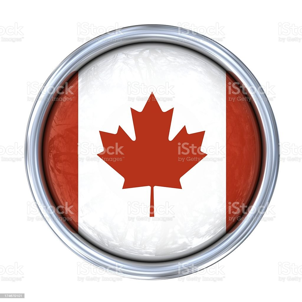 candian flag on button stock photo