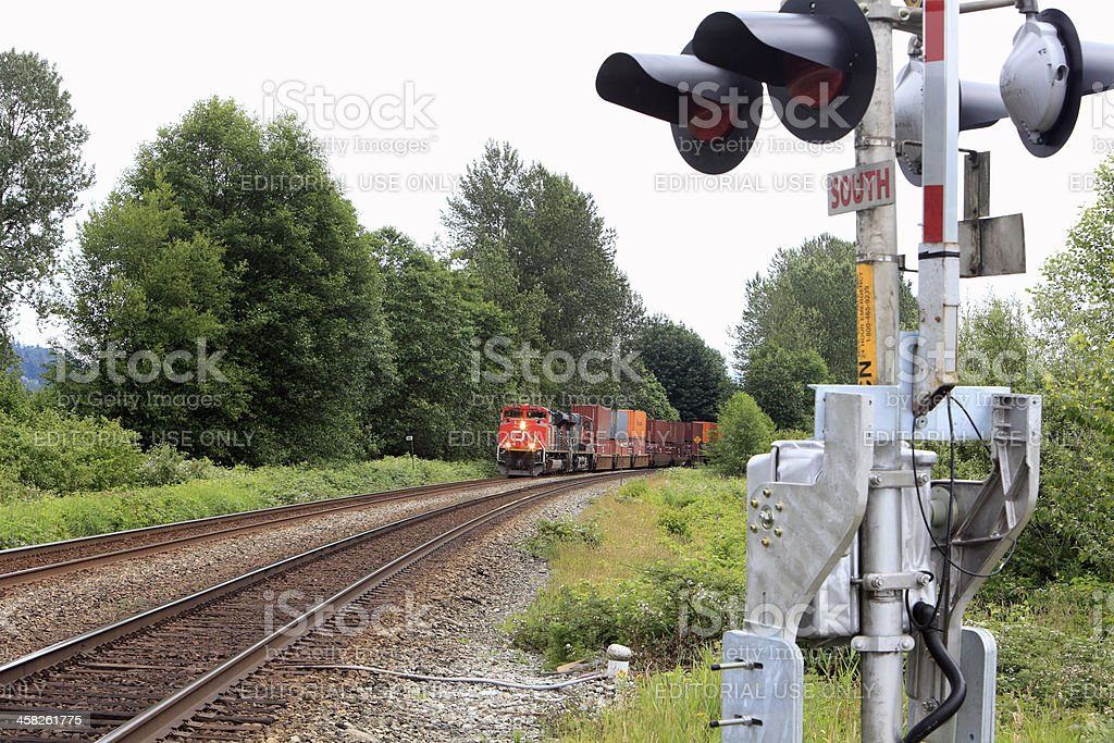 Candian National Freight Train In Rural British Columbia stock photo