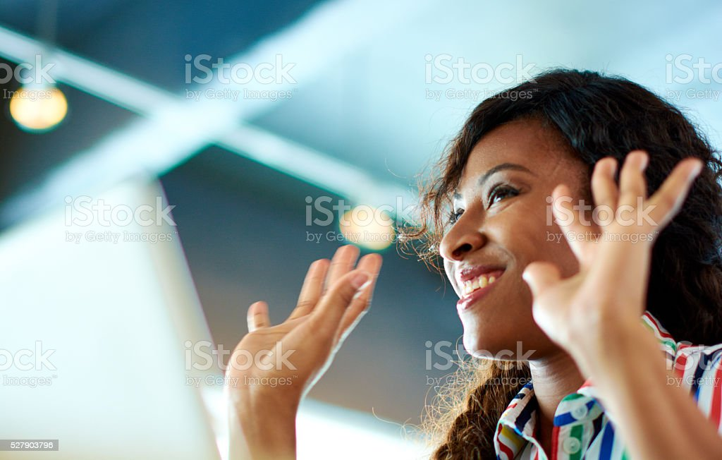 Candid image of succesful business african american caught in an stock photo