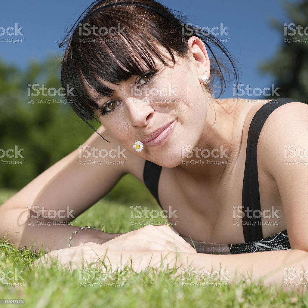 Candid outdoor summer portrait royalty-free stock photo