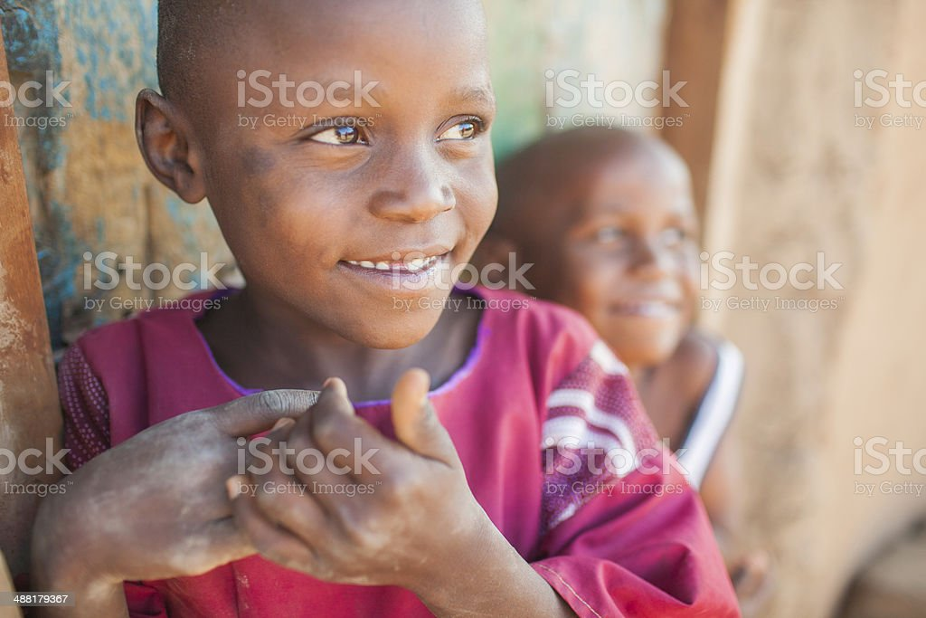 Candid Portrait of African Children stock photo