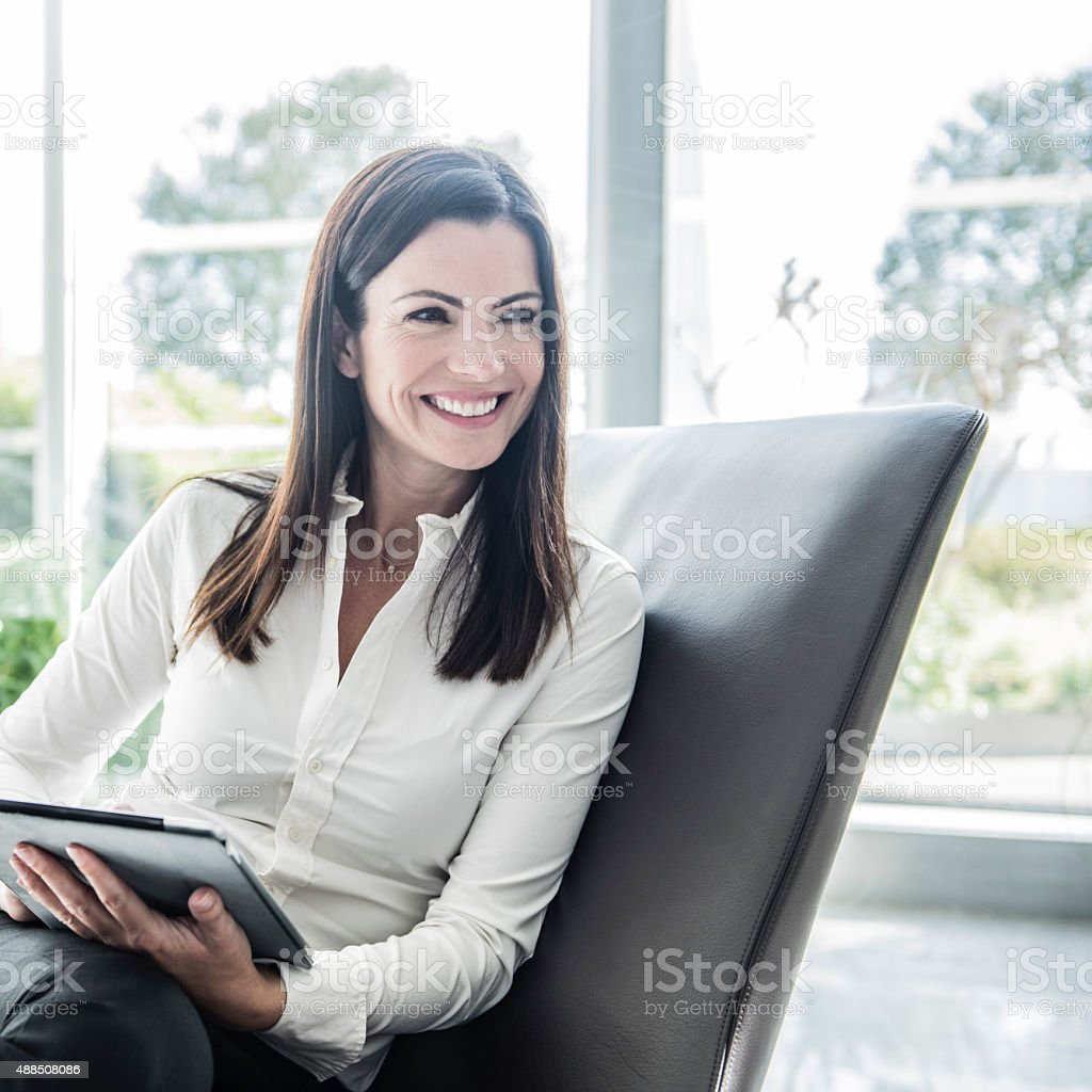 Candid portrait of modern woman stock photo