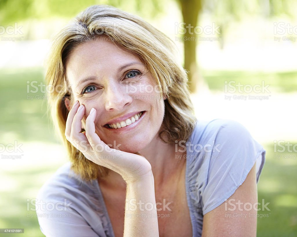 Candid smile stock photo