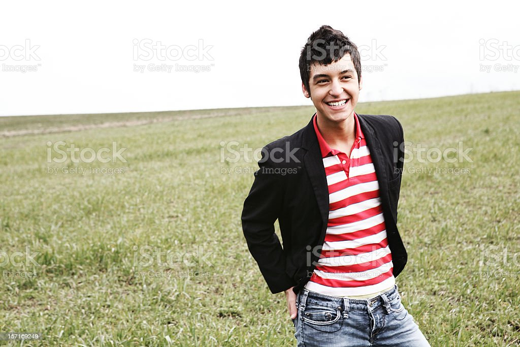 Candid Smiling Young Man Outside. royalty-free stock photo