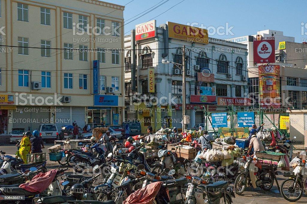 Candid Streets Scene Outside Kota Baharu Market, Malaysia stock photo
