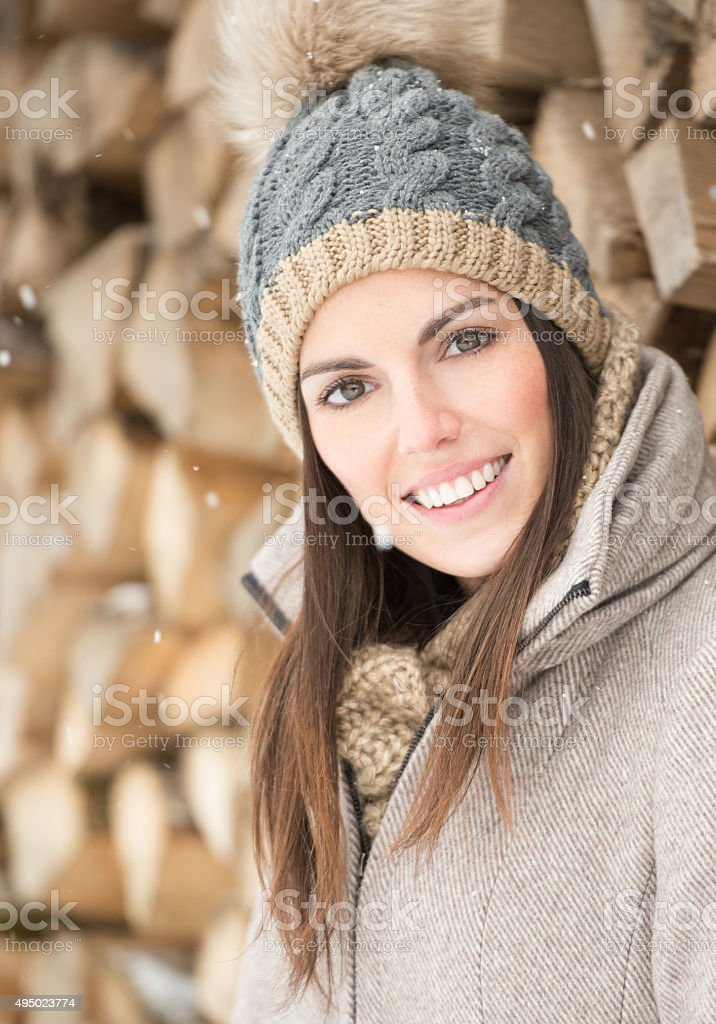 Candid Winter Portrait, Beautiful Woman stock photo