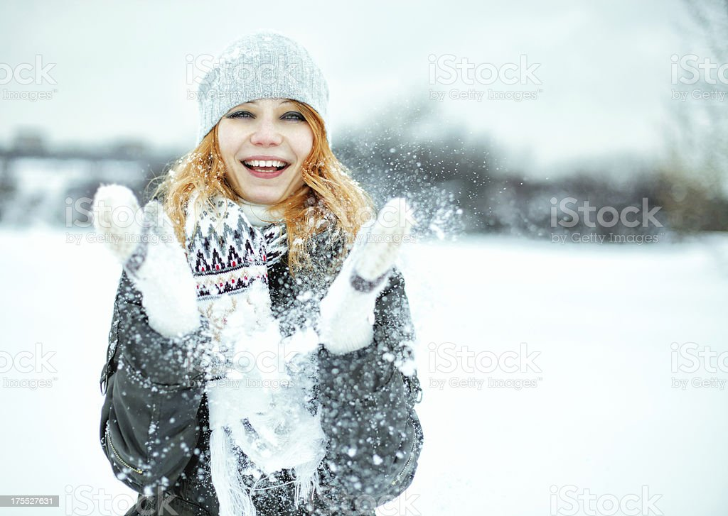 Candid winter portrait royalty-free stock photo