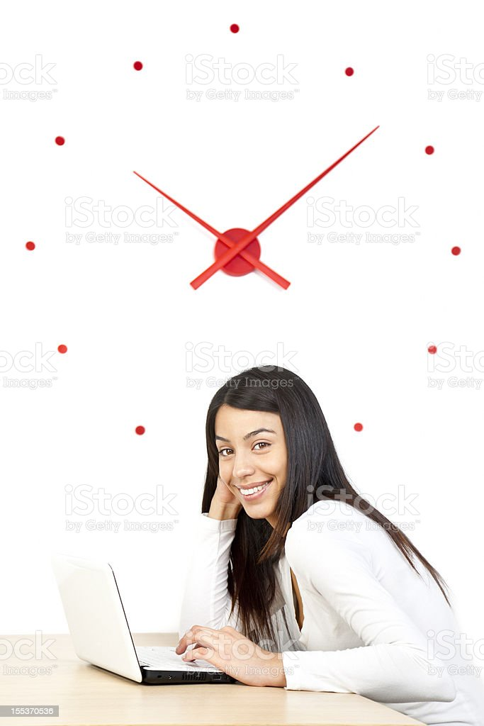 Candid young woman using laptop royalty-free stock photo