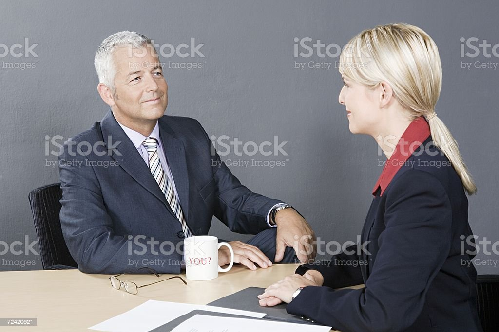 Candidate and interviewer royalty-free stock photo