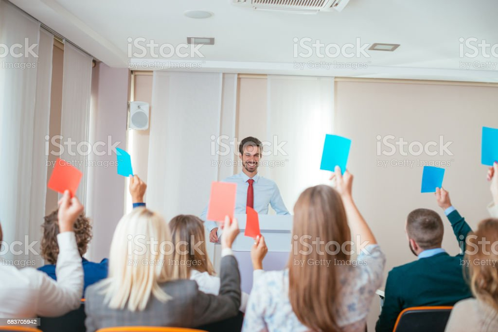 Candidates voting for new management stock photo