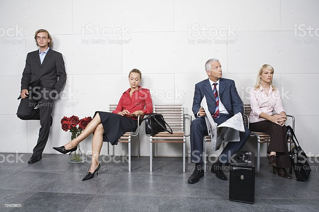 Candidates waiting for interview stock photo