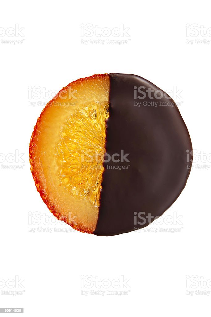 Candied chocolate-covered orange with clipping path royalty-free stock photo