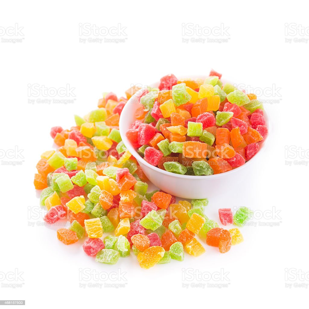 candied fruit isolated stock photo