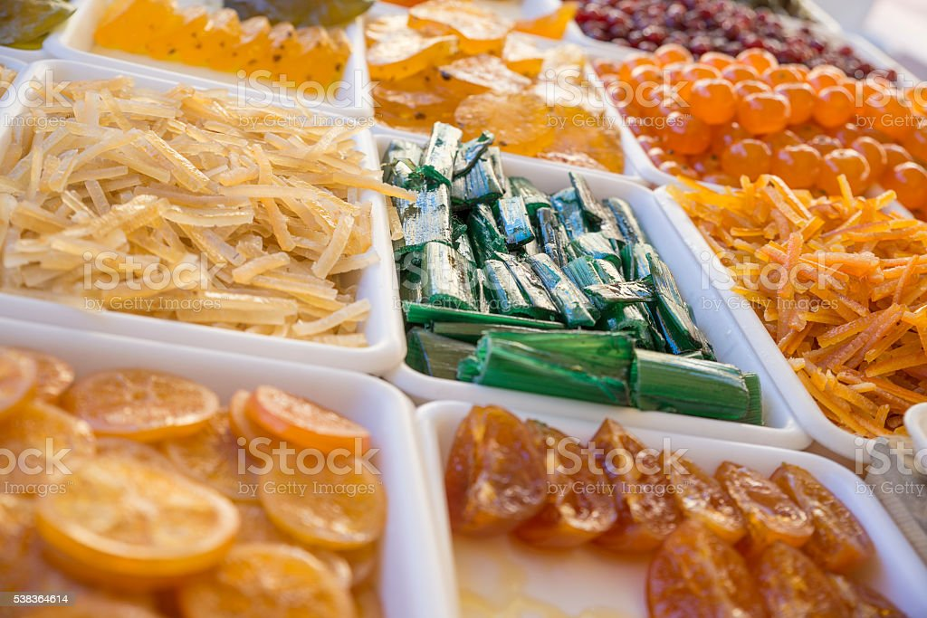 candied fruit trays stock photo