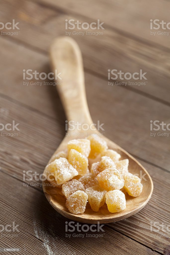 Candied or crystalized ginger stock photo