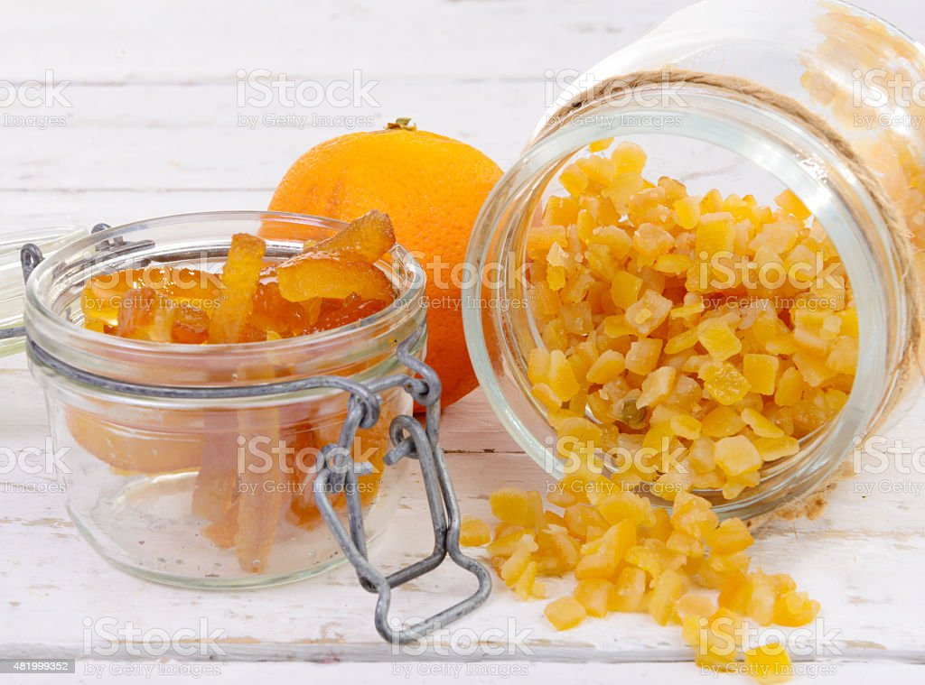 candied oranges cut into pieces stock photo