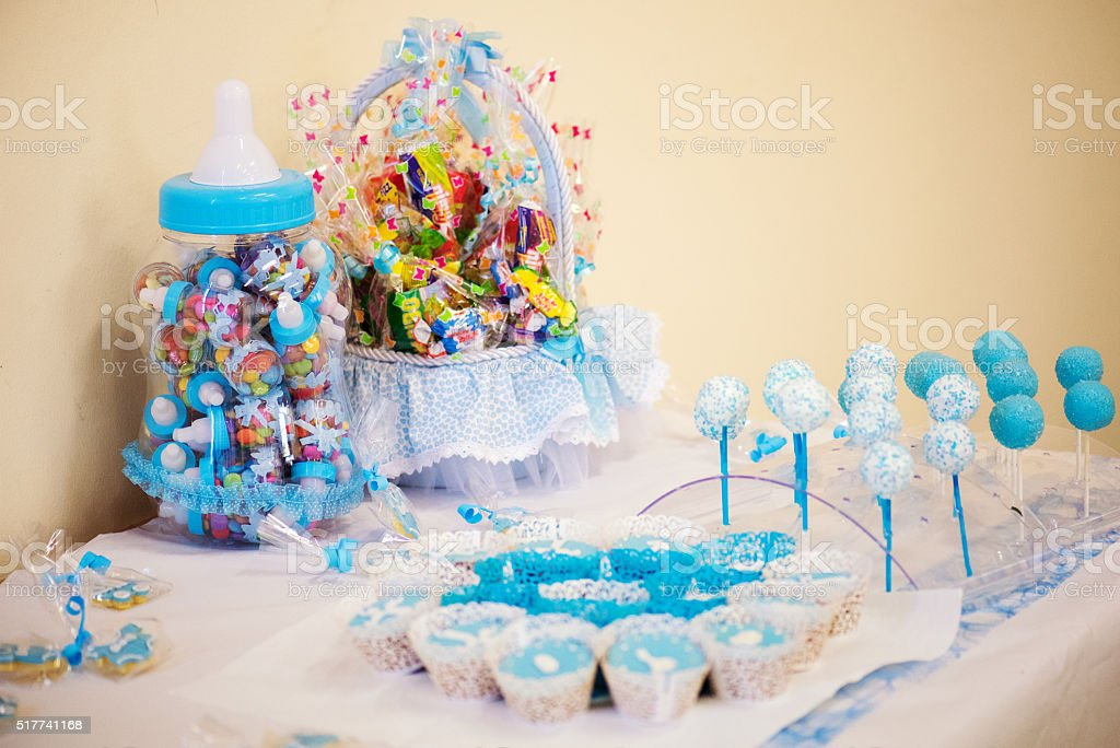 Candies and decoration for a baby shower stock photo