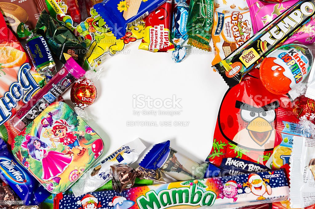 Candies, chocolates, sweets stock photo