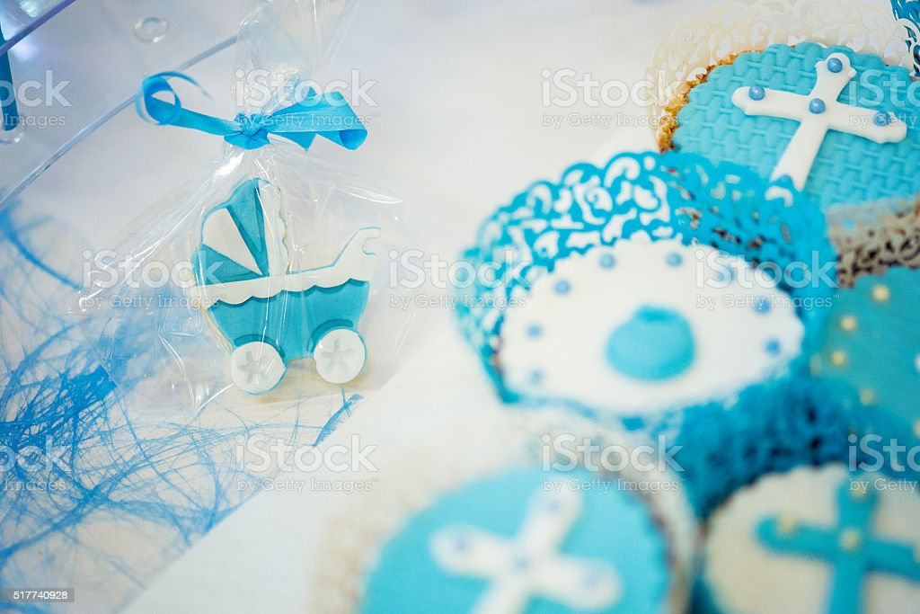 Candies for a baby shower stock photo