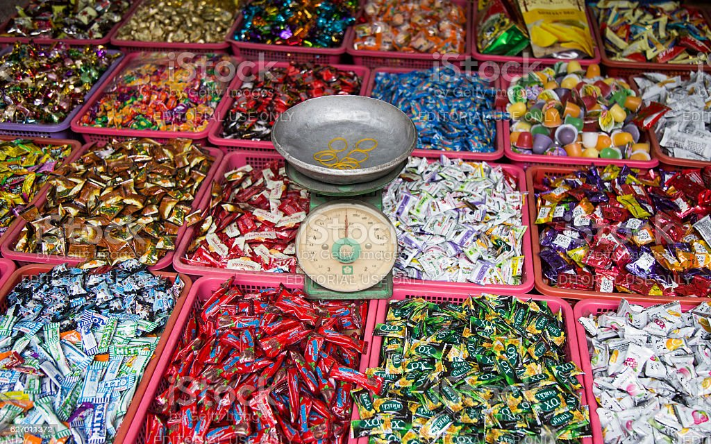 Candies of many local Vietnamese brands stock photo