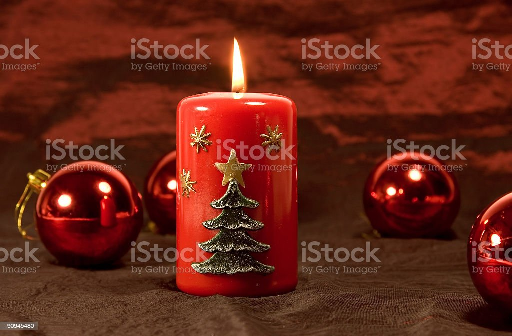 Candle and balls royalty-free stock photo