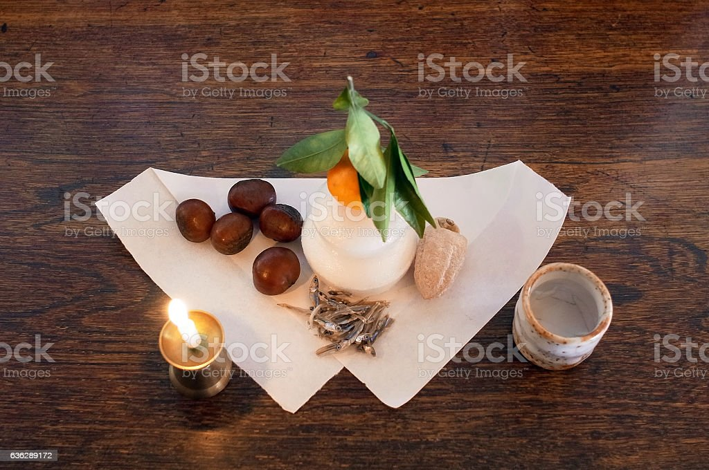 Candle and Food stock photo