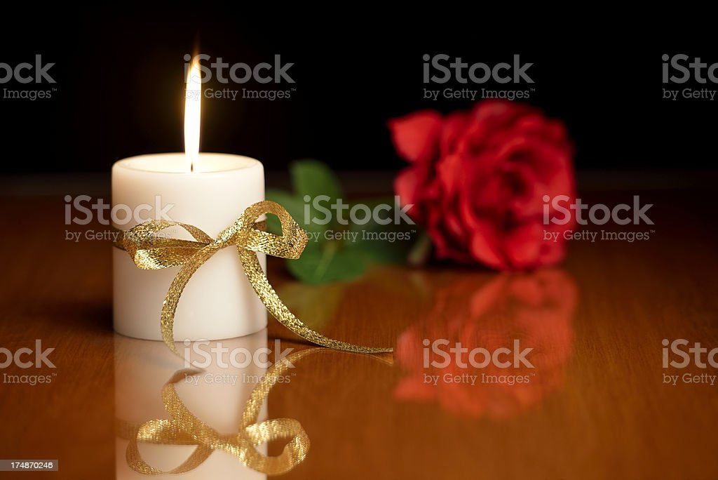 Candle and rose royalty-free stock photo