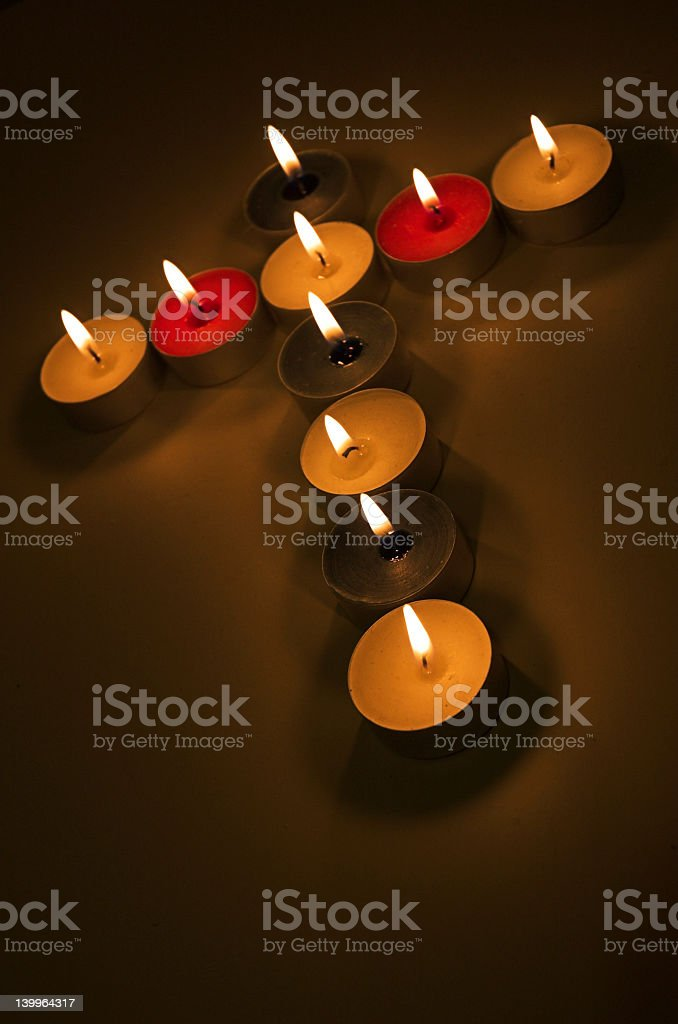 Candle cross royalty-free stock photo