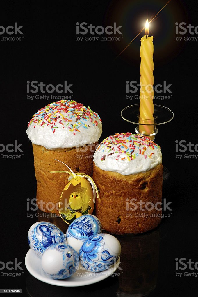 Candle eggs and easter cake still-life royalty-free stock photo
