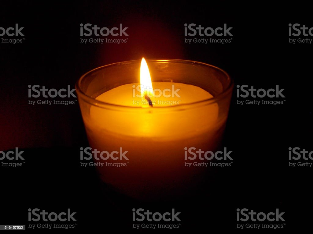 Candle for a Vigil in Remembrance stock photo