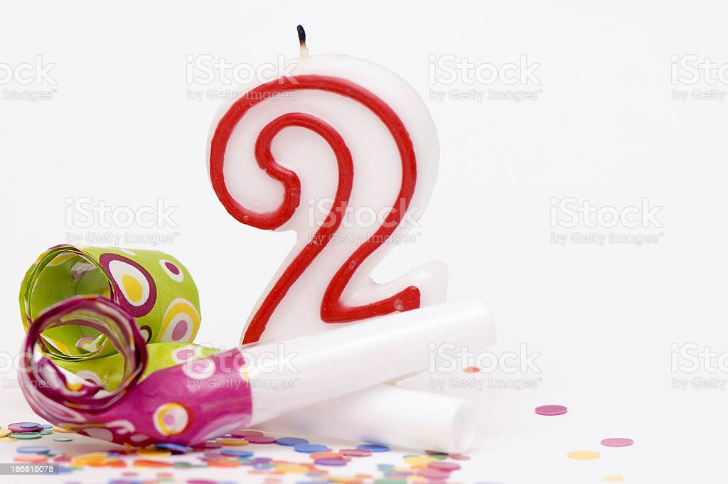 Candle For Second Birthday royalty-free stock photo