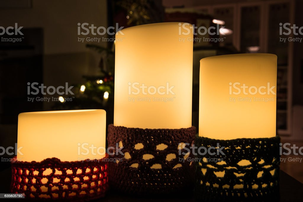 Candle in Christmas time stock photo