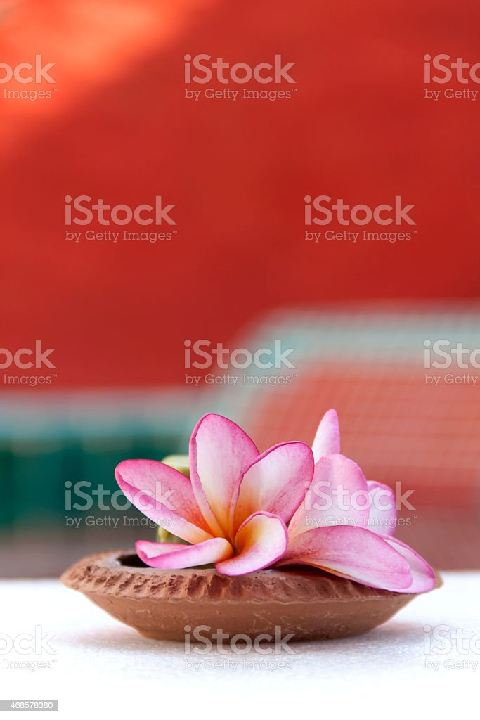 Candle in clay tray royalty-free stock photo