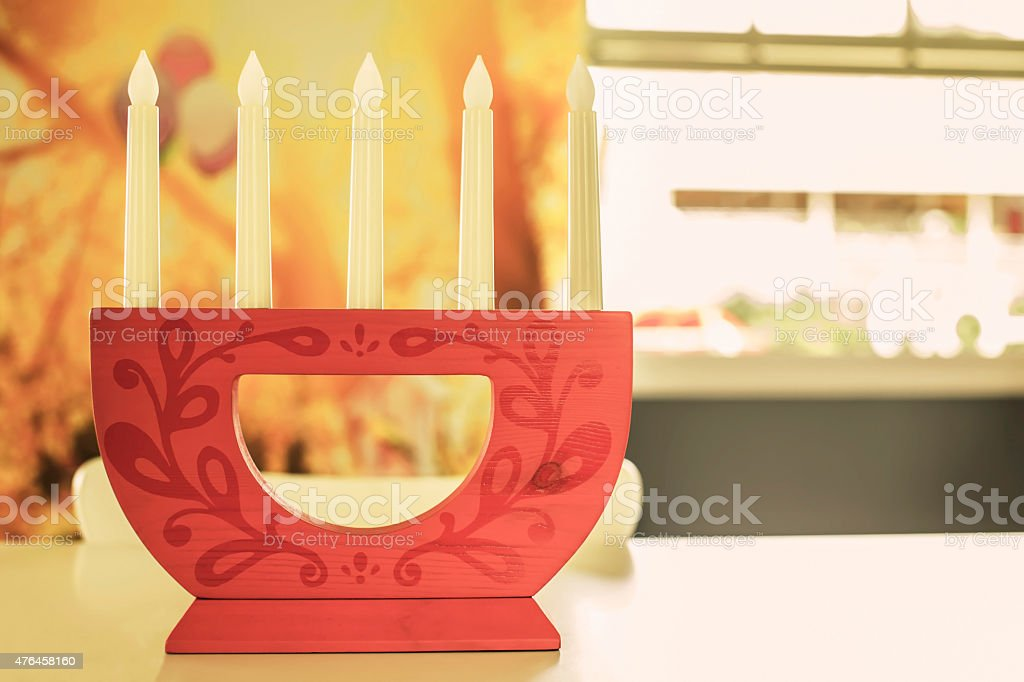 candle lamp on desk in a room royalty-free stock photo