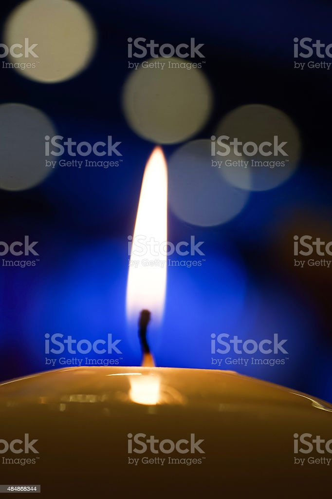 Candle light at night with bokeh stock photo