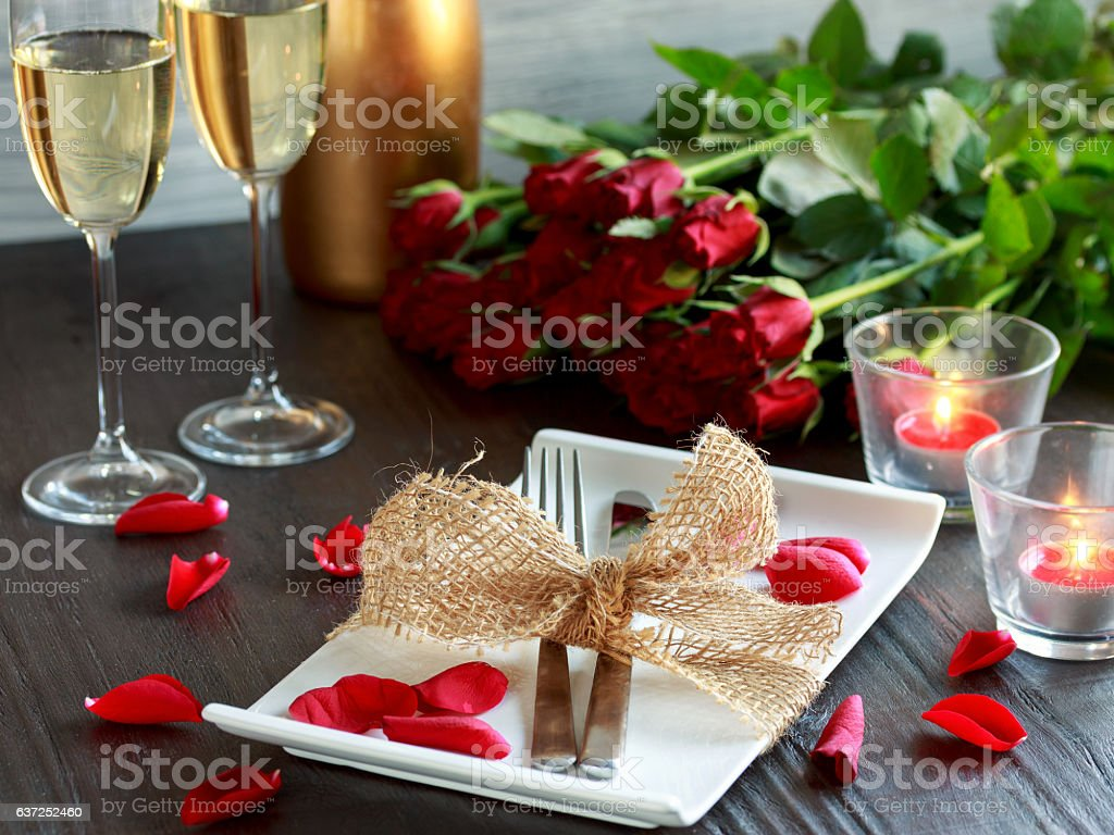 Candle light dinner stock photo