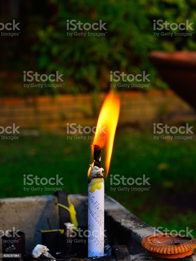 Candle light for spirituality ceremony stock photo