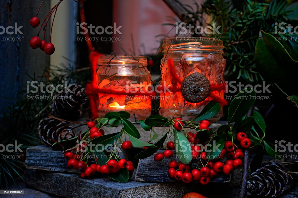 candle light in the glass stock photo