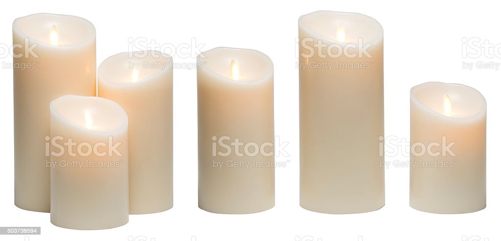 Candle Light, White Wax Candles Lights Isolated on White Background stock photo