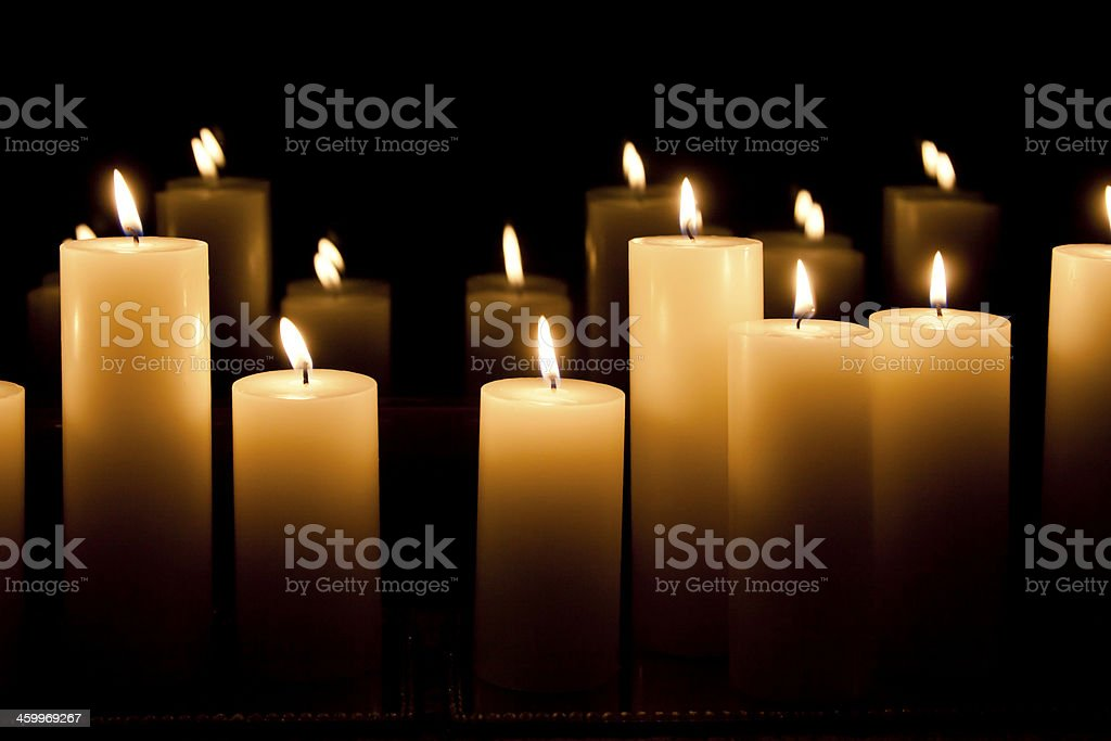 Candle lights and their reflection stock photo