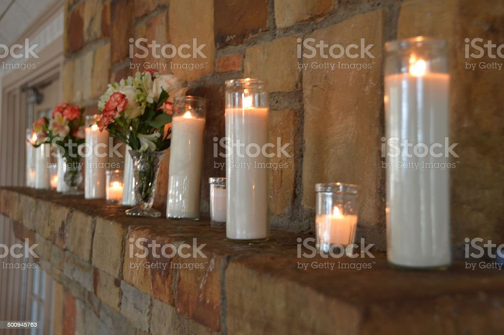 Candle Lit Mantel royalty-free stock photo