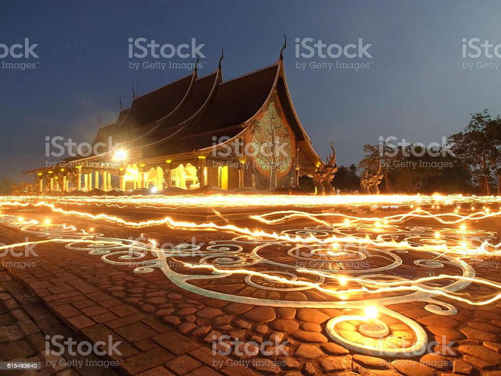 Candle lit walk stock photo