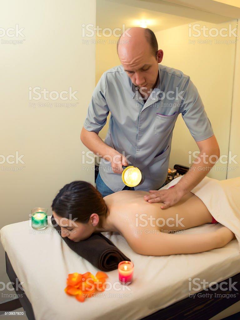 Candle Massage On Back stock photo
