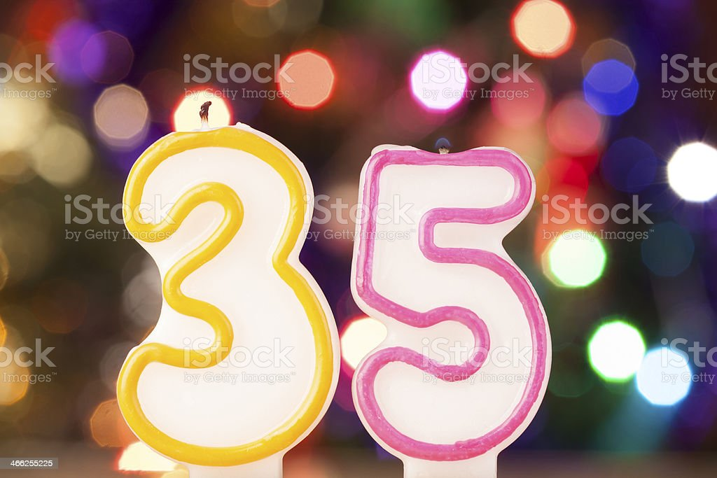 Candle number 35 stock photo