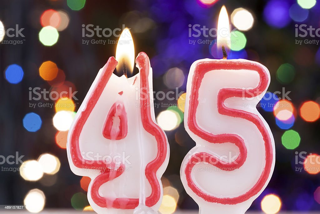 Candle number 45 stock photo