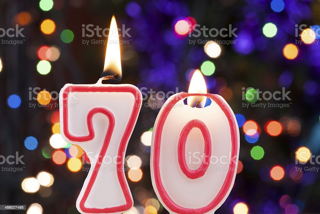 Candle number 70 stock photo